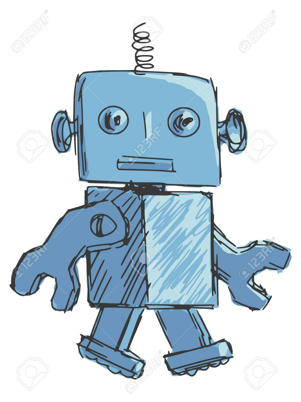 Children Robot Hand Drawn Cartoon Sketch Illustration Of Children Robot