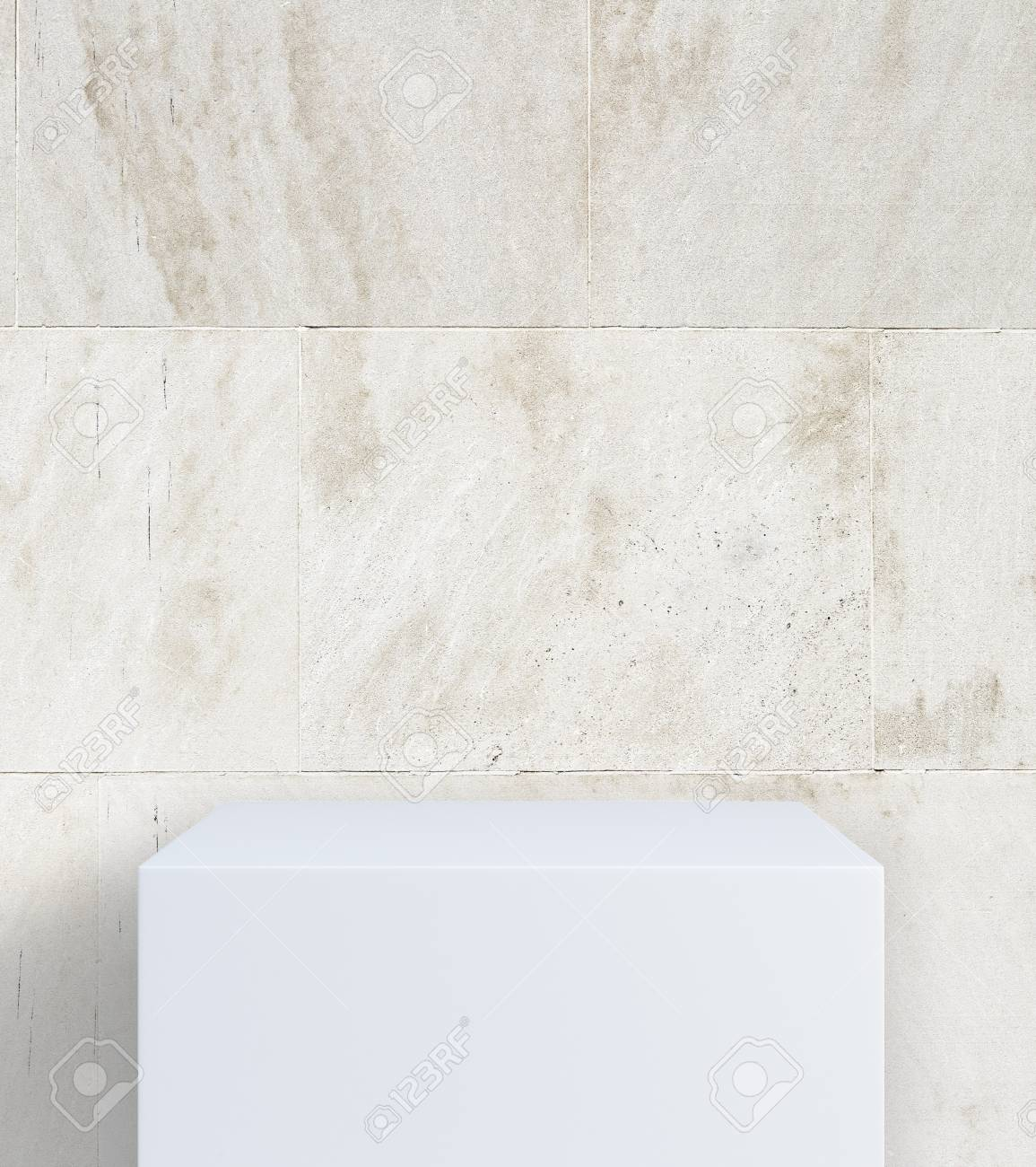 Piastrelle Concrete 3d Empty White Stand On Concrete Tile Background Mock Up 3d Rendering