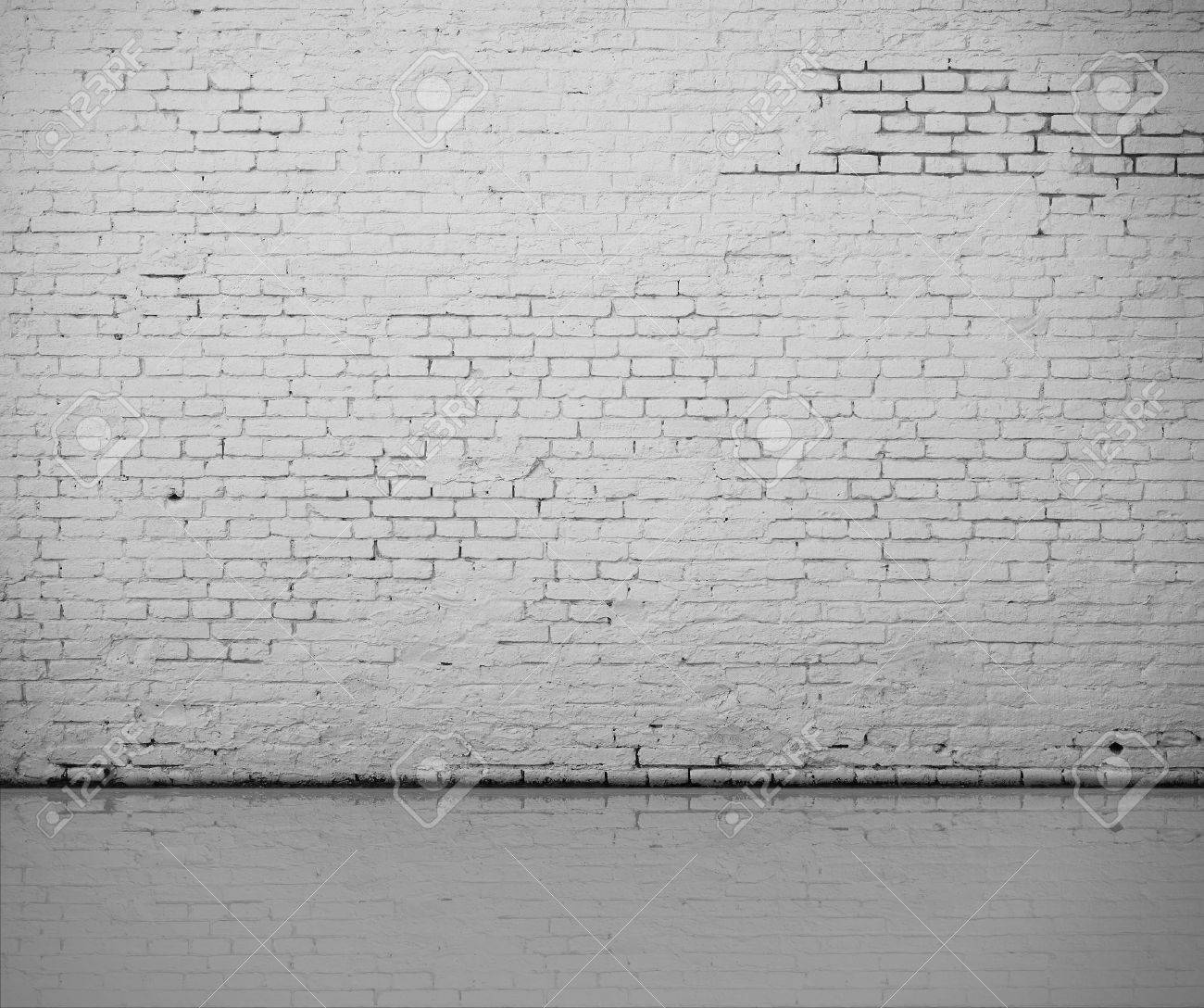 Weiße Fotowand High Resolution White Brick Wall And Floor