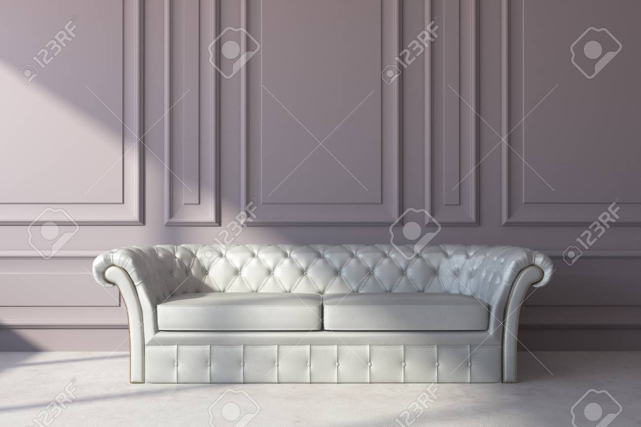 White Leather Couch Front View Of White Leather Sofa In Classic Interior With Copy