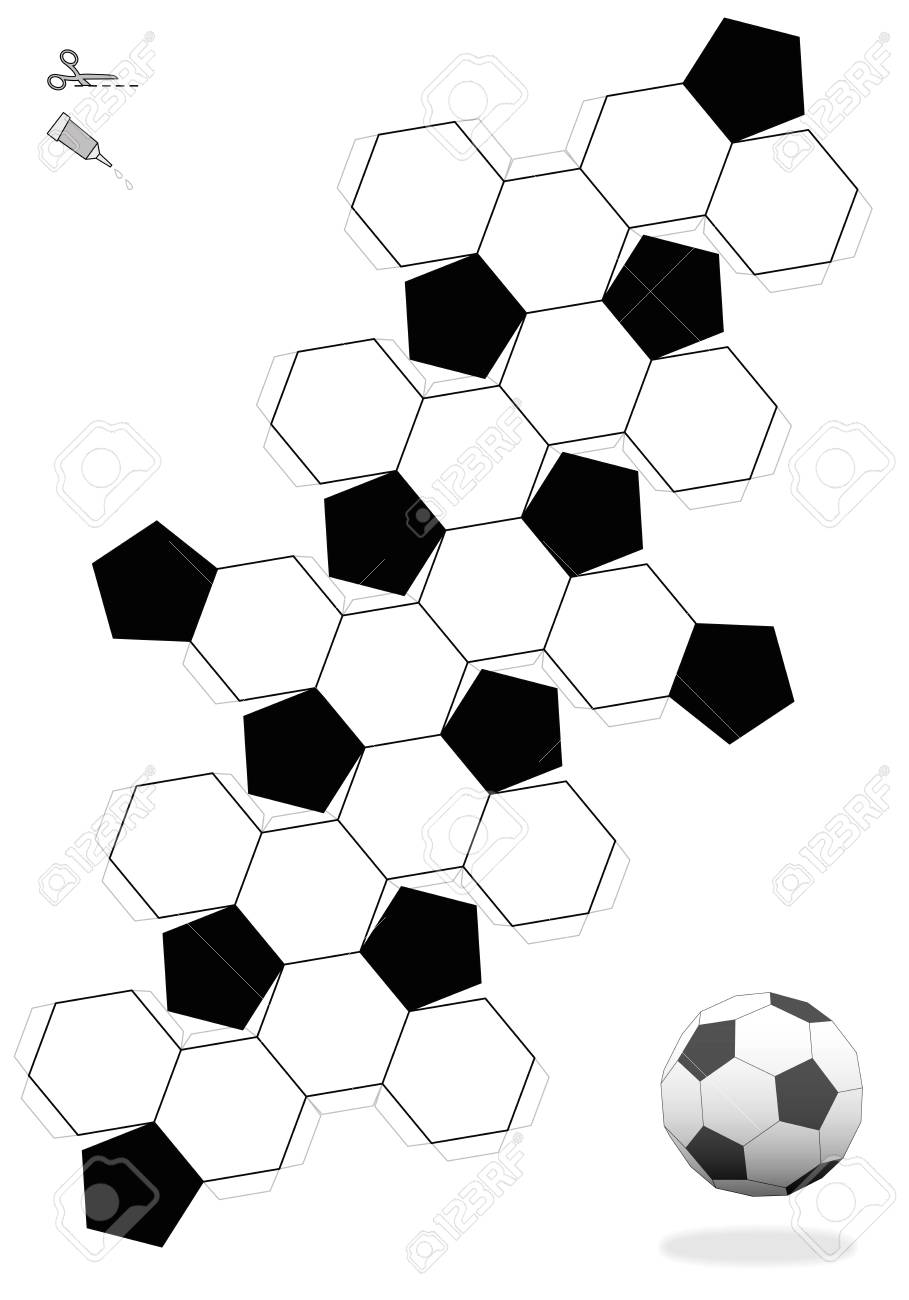 3d Net Truncated Icosahedron Soccer Ball Template For Making A 3d Object