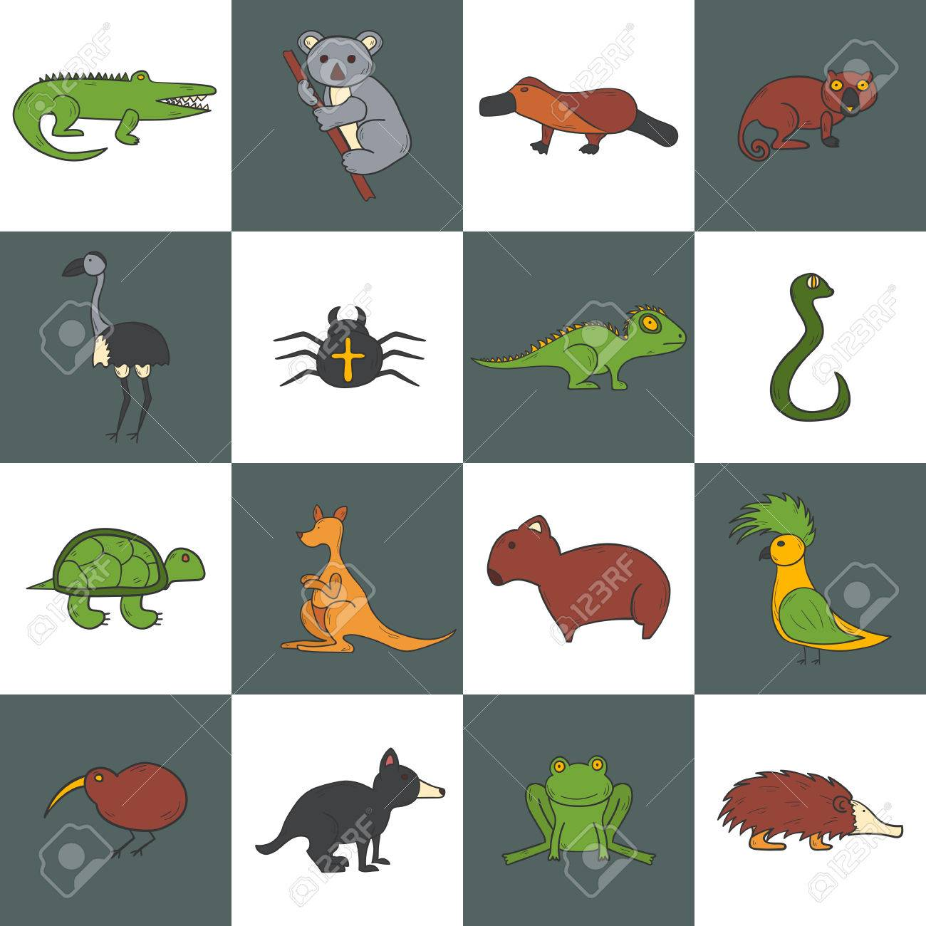 Australian Animals Drawings A Vector Cartoon Illustration With Hand Drawn Australia Animals