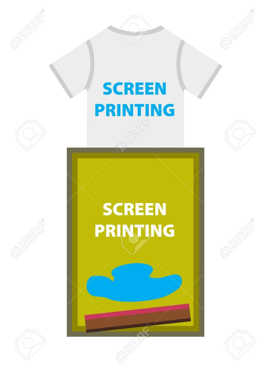 T Shirt Frame Vector Illustration Of T Shirt And Print Frame With Spatula And