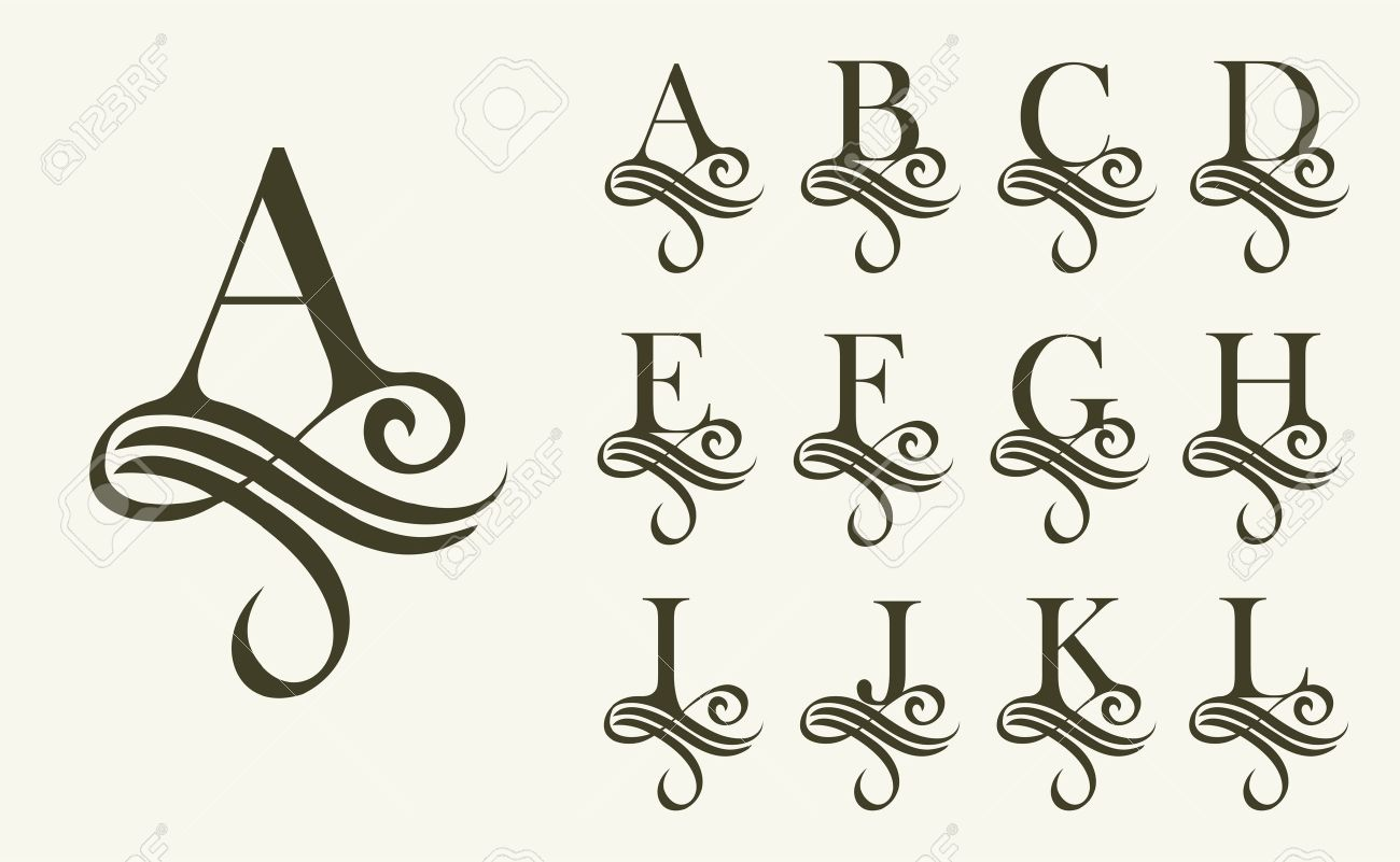 Calligraphy Fonts Victorian Vintage Set1 Capital Letter For Monograms And Logos Beautiful