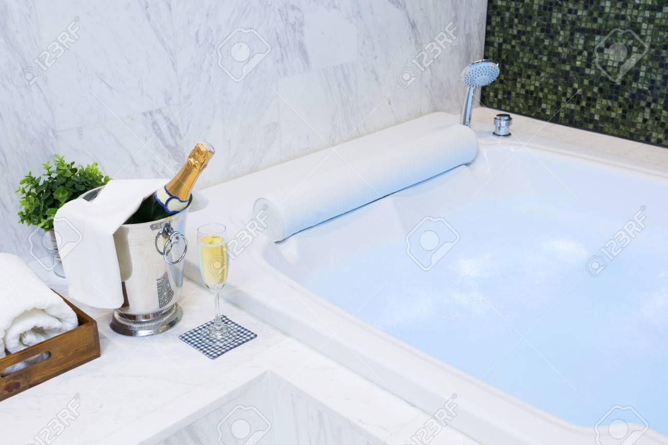 Jacuzzi Whirlpool Champagne Glass And Jacuzzi Spa With Colourful Light Whirlpool
