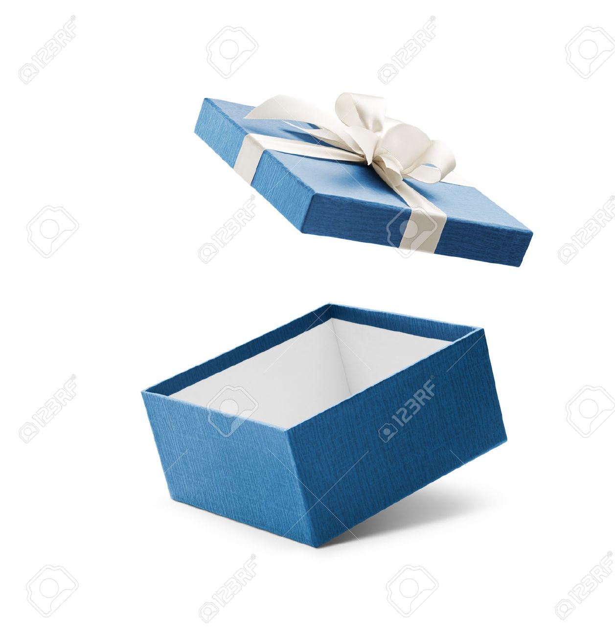 Gift Box Blue Open Gift Box With White Bow Isolated On White