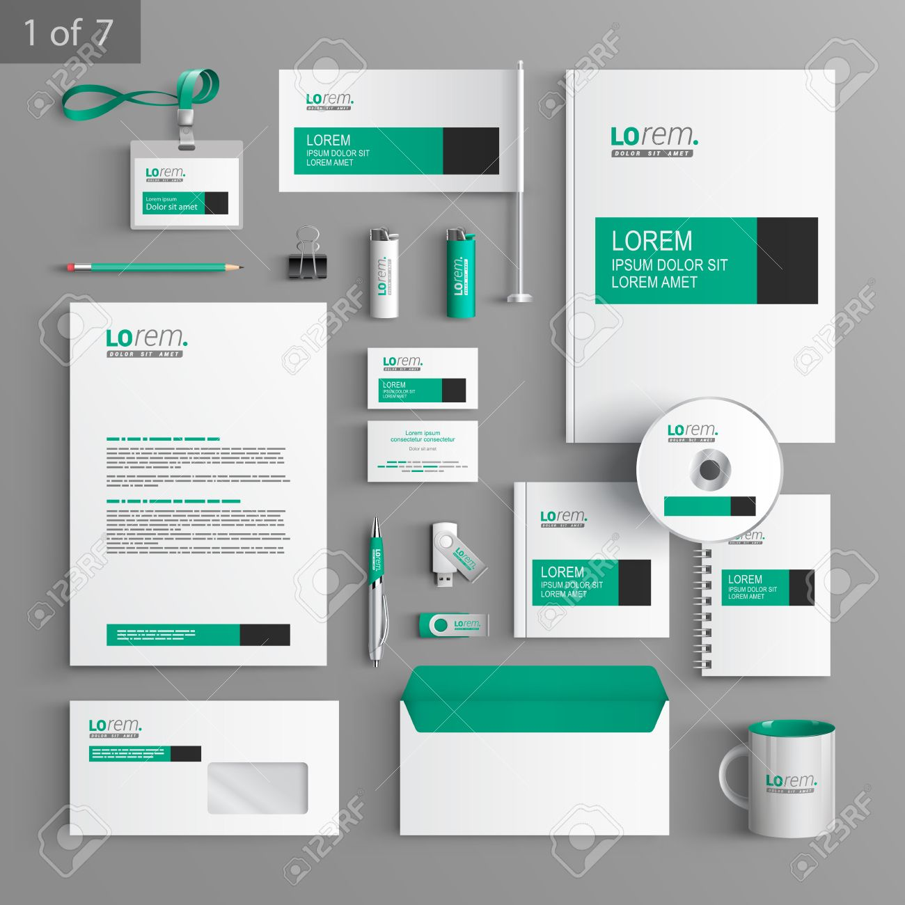 Corporate Graphic Design White Classic Corporate Identity Template Design With Green And