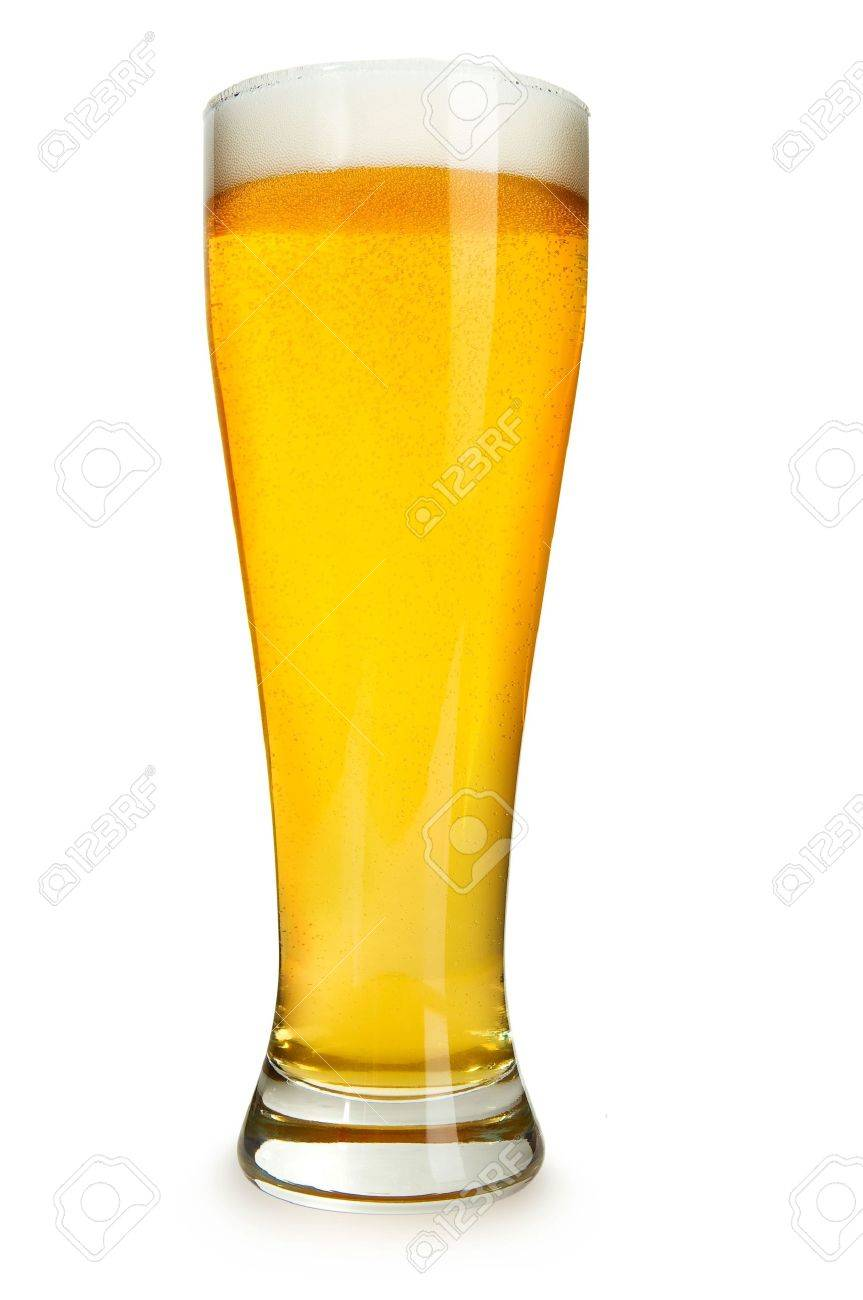 Bier Glas A Perfect Glass Of Beer Isolated On A White Background