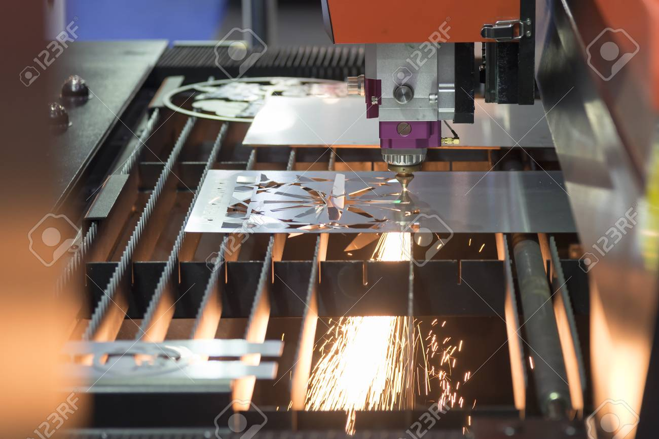 Laser Cutting Machine Metal The Fiber Laser Cutting Machine Cutting The Sheet Metal Plate