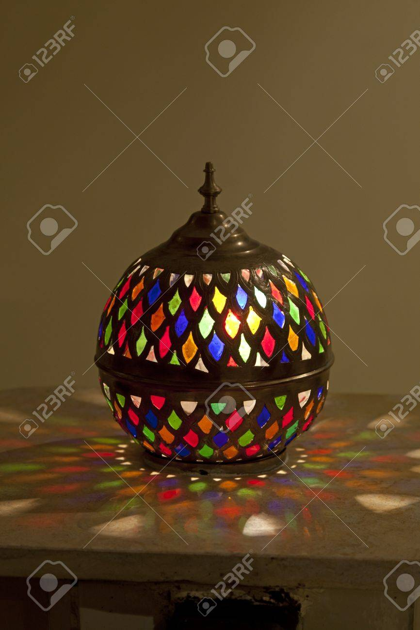 Lamp Glas In Lood Tradtional Colorful Moroccan Stained Glass Lamp Marrakech Morocco April