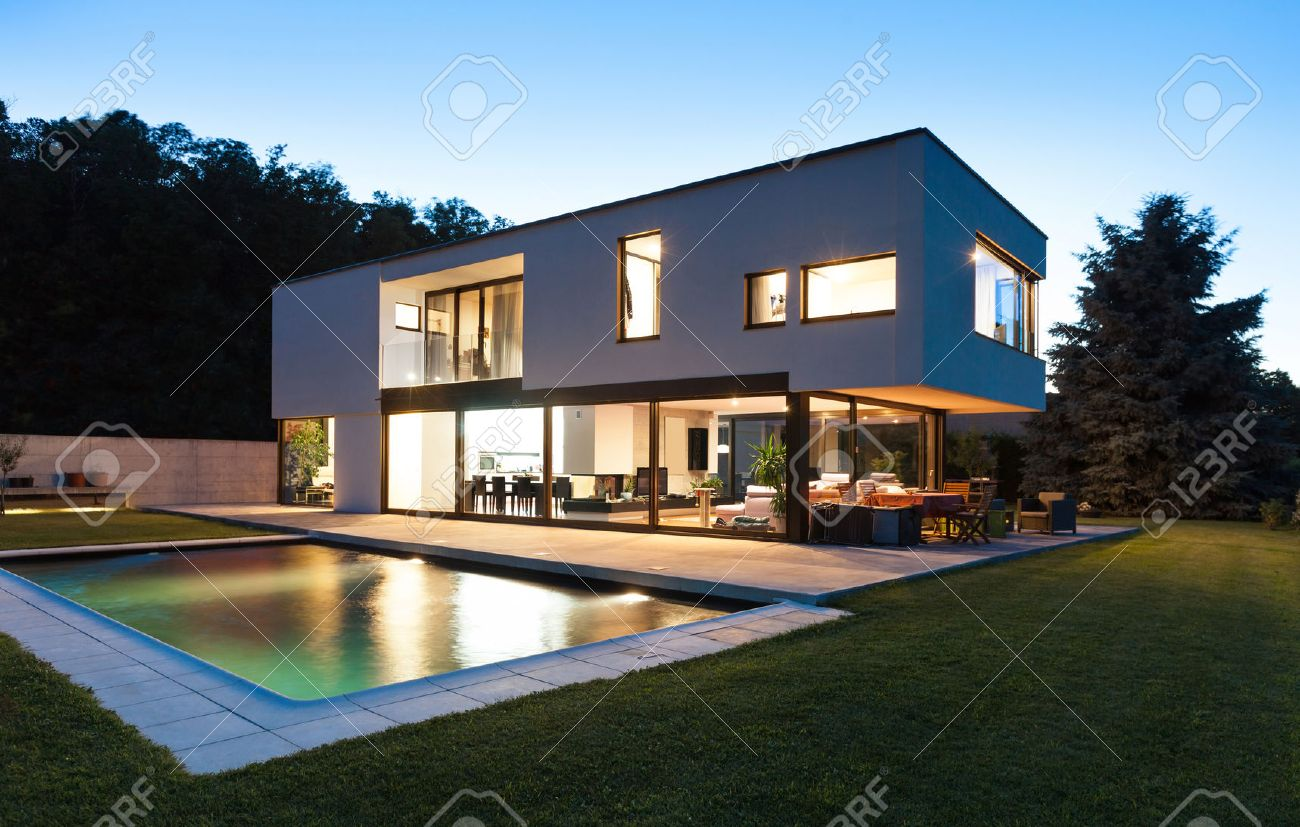 Modern Villa Modern Villa With Pool Night Scene