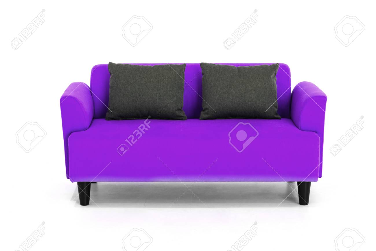 Contemporary Couch Violet Scandinavian Style Contemporary Sofa On White Background
