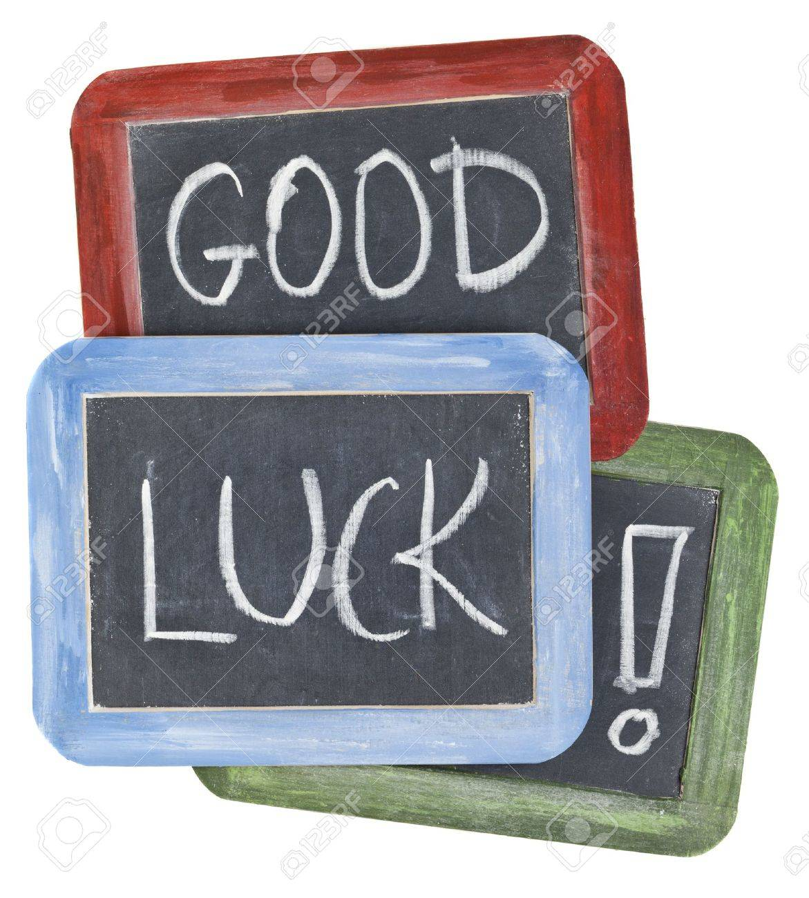 Kleine Schoolbordjes Good Luck Wishes White Chalk Handwriting On Small Slate Blackboards