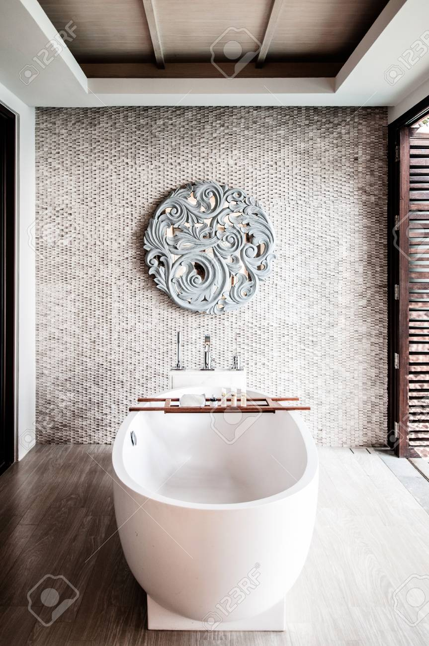 Mar 28 2014 Phuket Thailand White Terrazzo Bathtub In Luxury Stock Photo Picture And Royalty Free Image Image 92110450