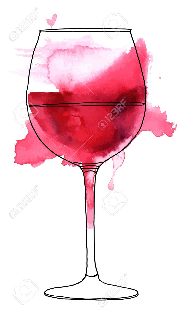Red Wine Glasses For Sale Vector And Watercolor Drawing Of Glass Of Red Wine