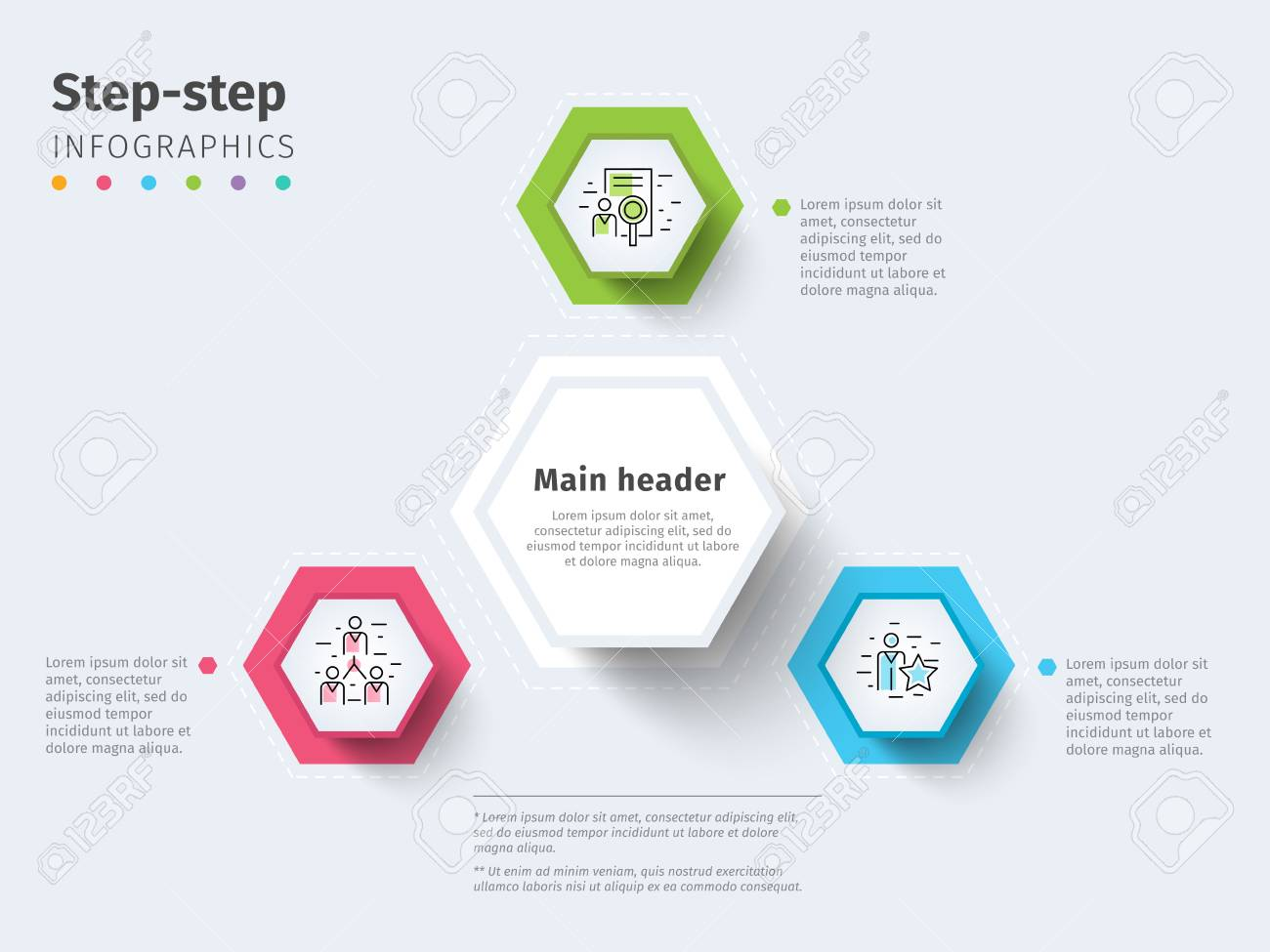 Business Step Business 3 Step Process Chart Infographics With Step Circles