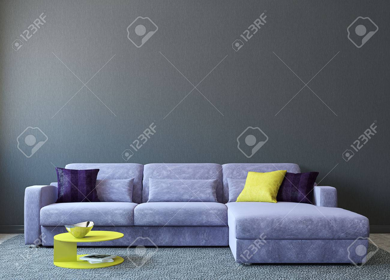Wohnzimmer Graue Wand Stock Photo