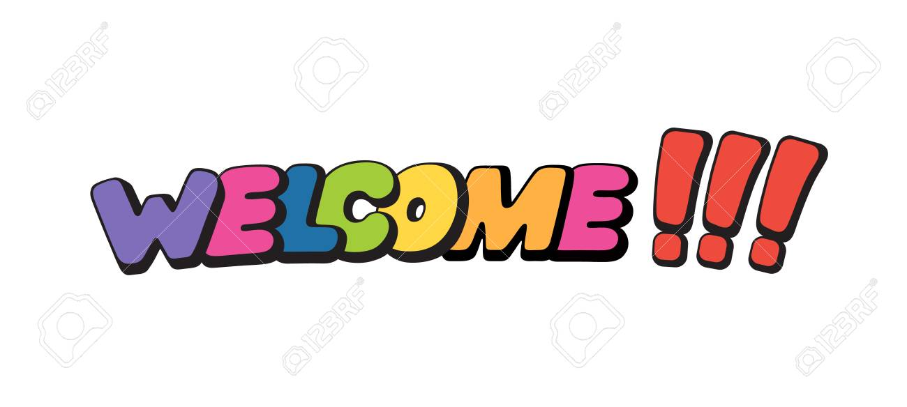Welcome, Word In Speech Bubble Patch Badge Comic Book Style