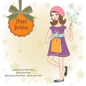 Genial Gift Birthday Card Royalty Free Happy Birthday Girl Birthday Card Stock Vector Girl Girl Gift Spanish Happy Birthday Flowers