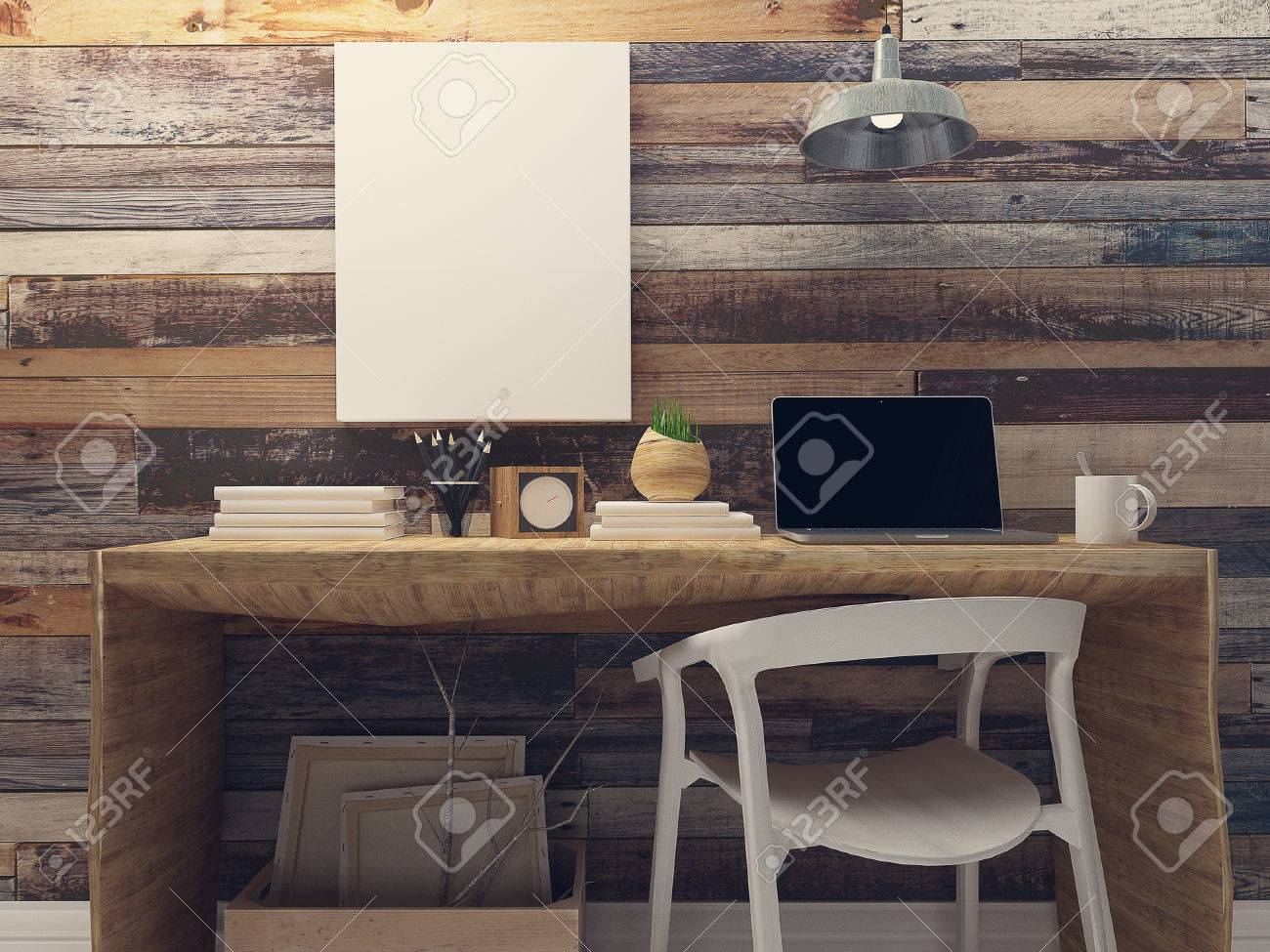 Rustic Walls Interior Blank Canvas Mockup On Rustic Wood Wall Retro Interior
