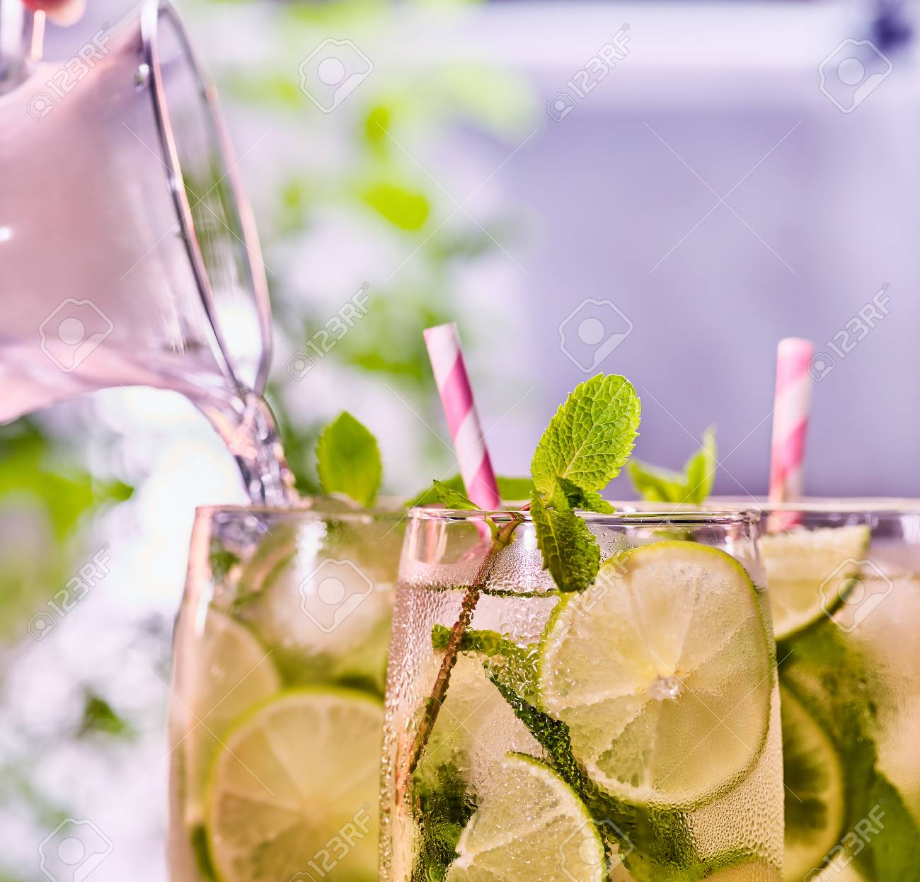 Cocktail Strohhalme Stock Photo