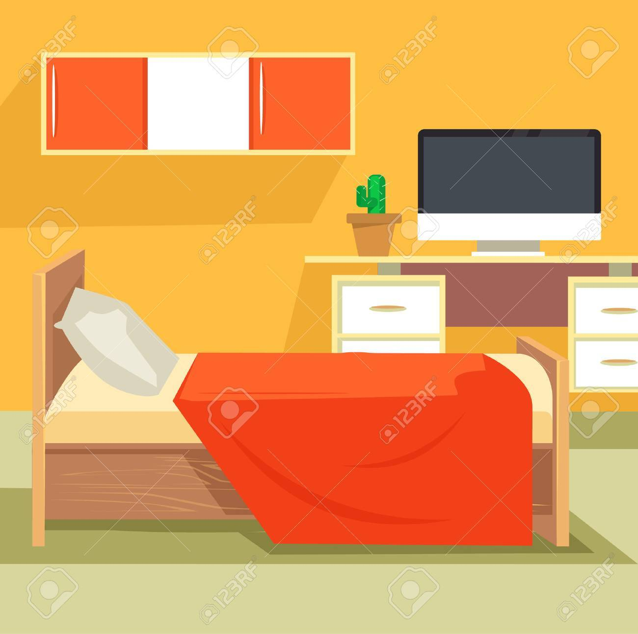 Schlafzimmer Orange Stock Photo