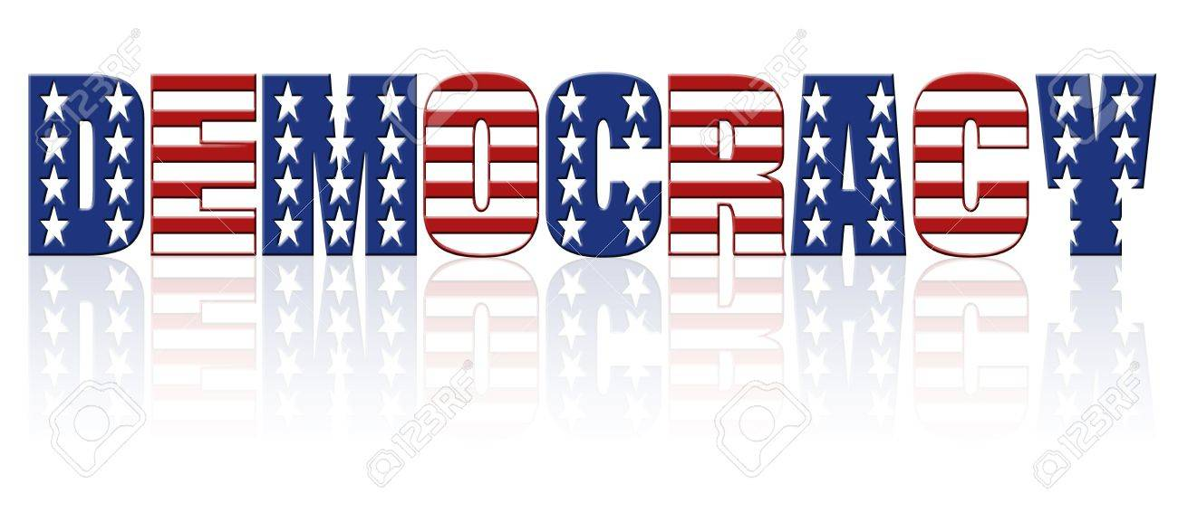Democracy Word With Superimposed American Flag Star And Stripe - word flag