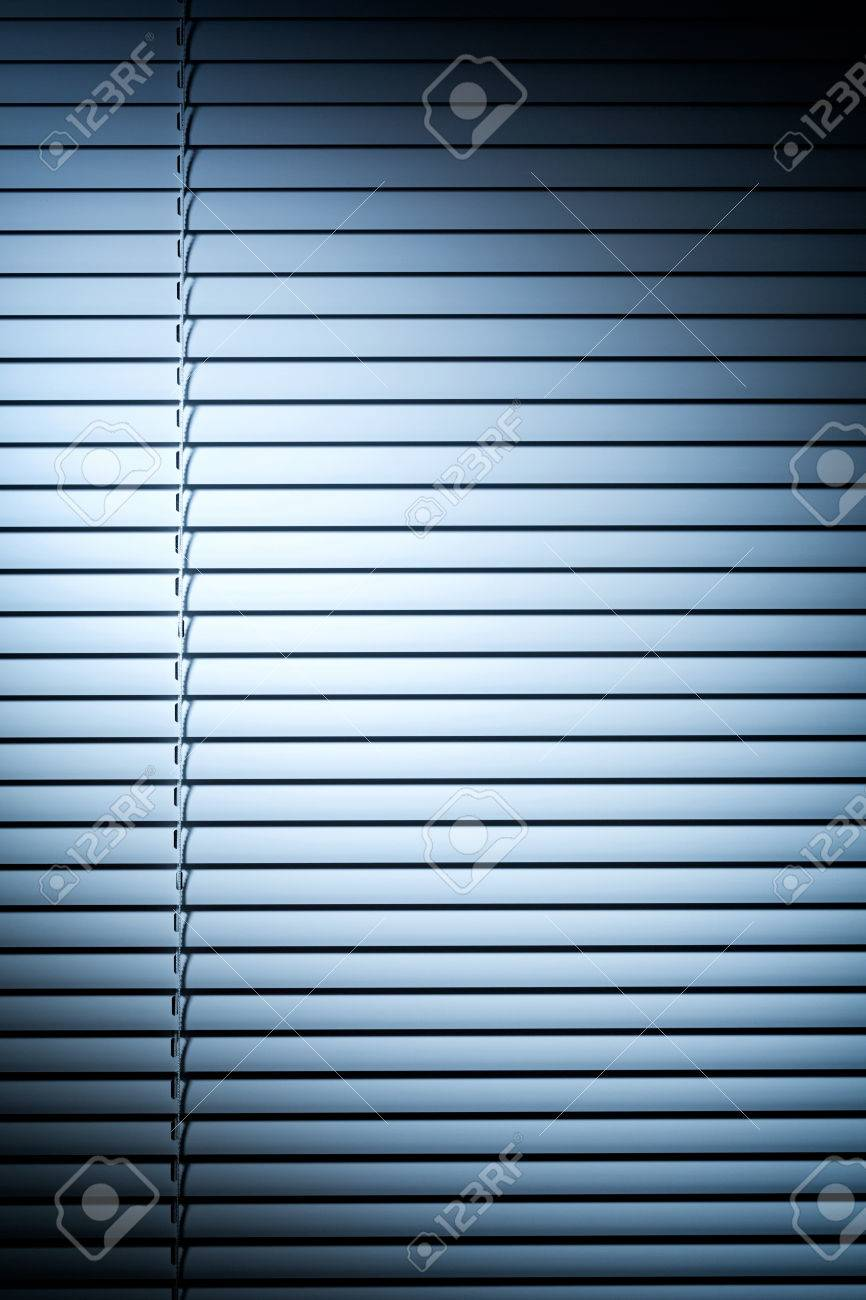 Blinds Spotlight Vertical Photo Of Closed Venetian Blinds Or Shutters Under Blue