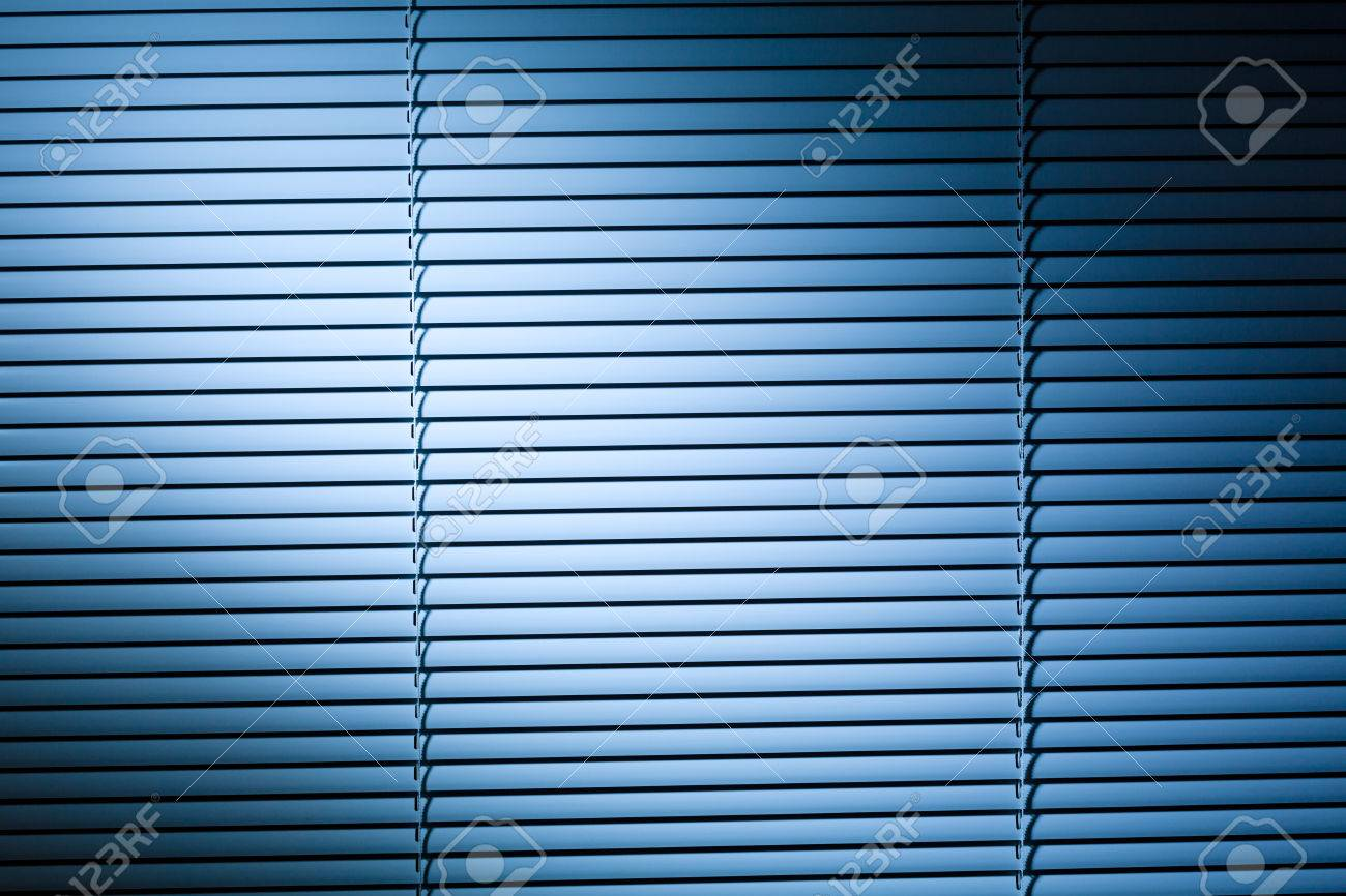 Blinds Spotlight Closed Venetian Blinds Or Shutters At Night Lit By A Blue Spotlight