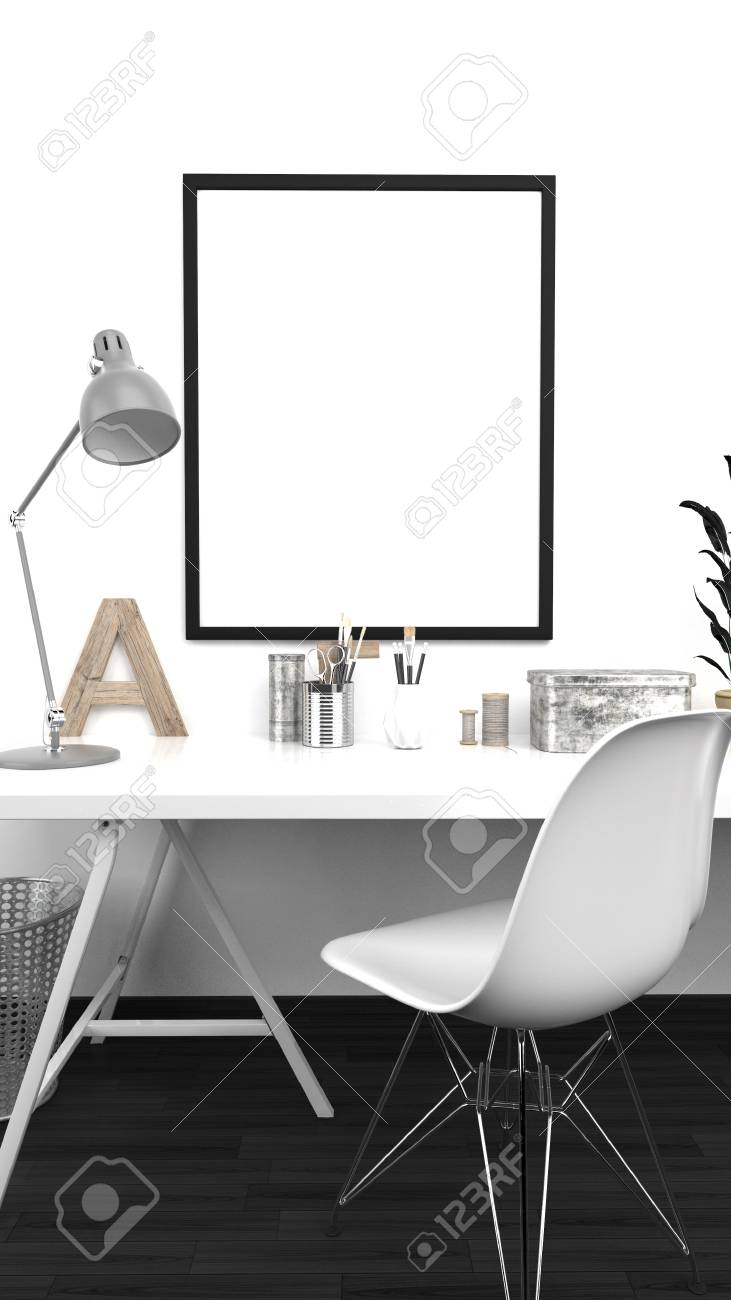Mobilier Home Studio Atelier Intérieur Mock Up With Frame Home Studio Contemporain Mur Blanc Mobilier Moderne Rendu 3d