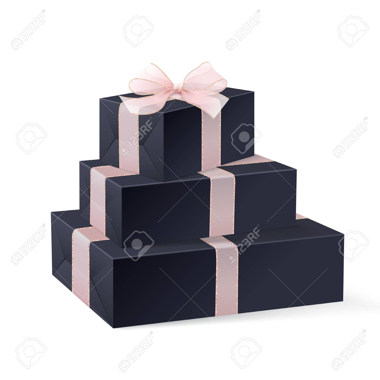 Black Gift Boxes Stack Of Three Realistic Black Gift Boxes With Pink Ribbon And