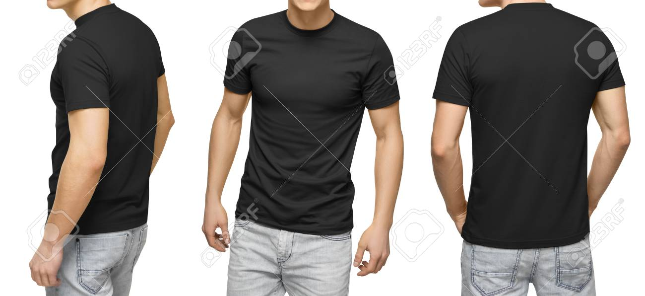 Young Male In Blank Black T-shirt, Front And Back View, Isolated
