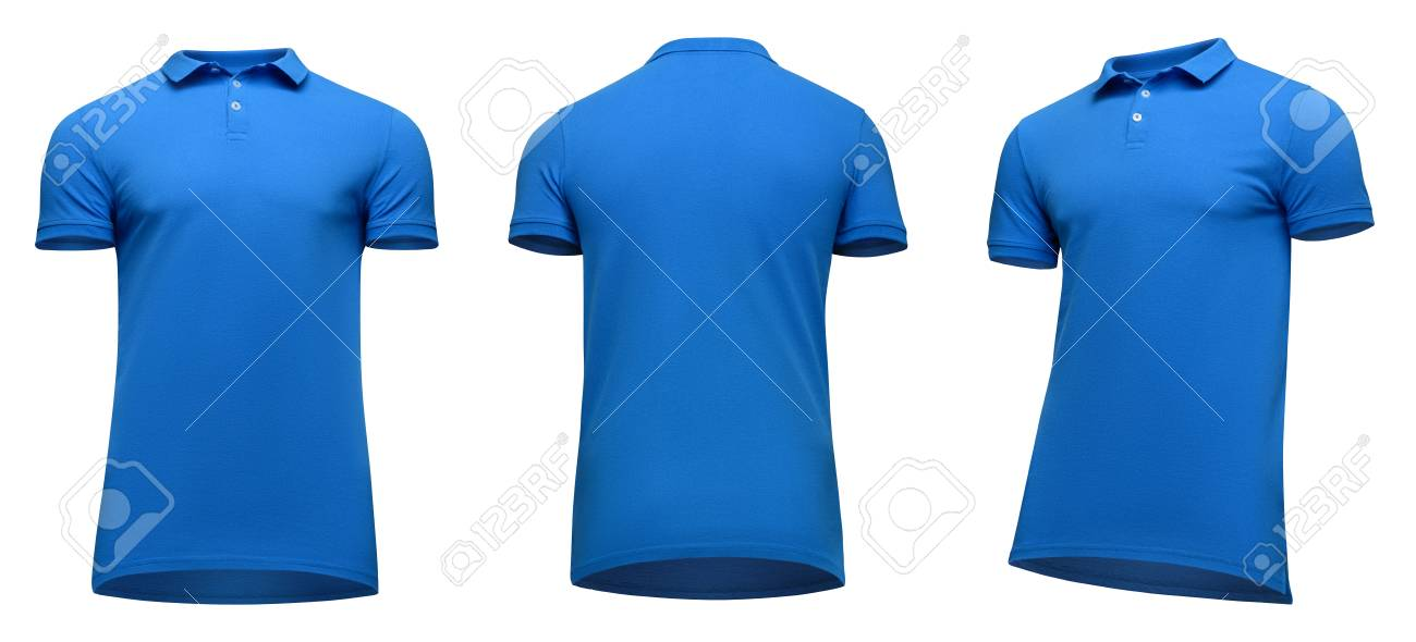 Blank Template Men Blue Polo Shirt Short Sleeve, Front And Back