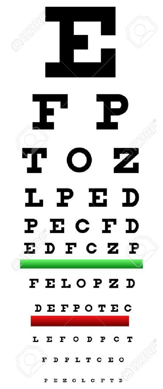 Eye Chart Illustration Also Called Snellen Chart It Is An Eye