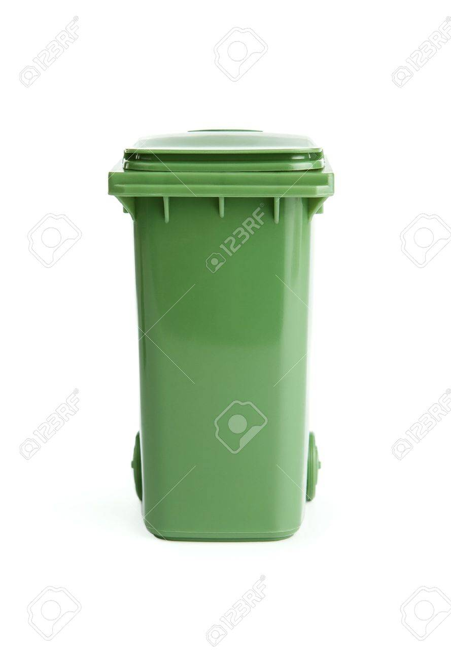 Garbage Bin Green Plactic Garbage Bin Isolated On White Background