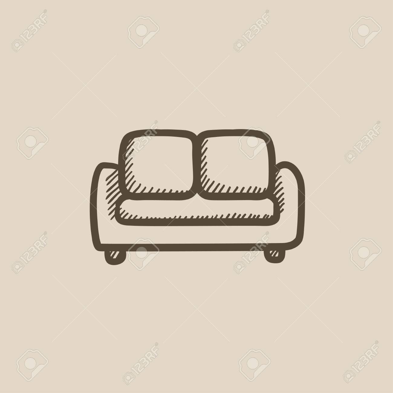 Sofa Vector Free Sofa Vector Sketch Icon Isolated On Background Hand Drawn Sofa