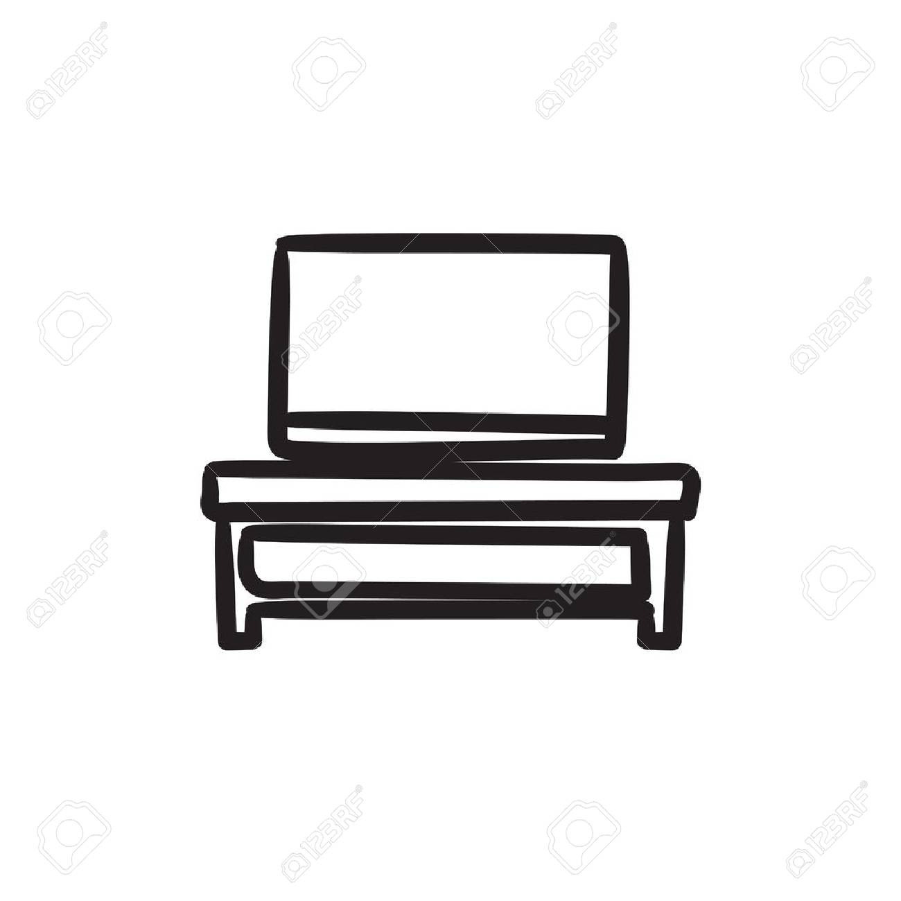 Flat Screen Tv Stands Flat Screen Tv On Modern Tv Stand Vector Sketch Icon Isolated