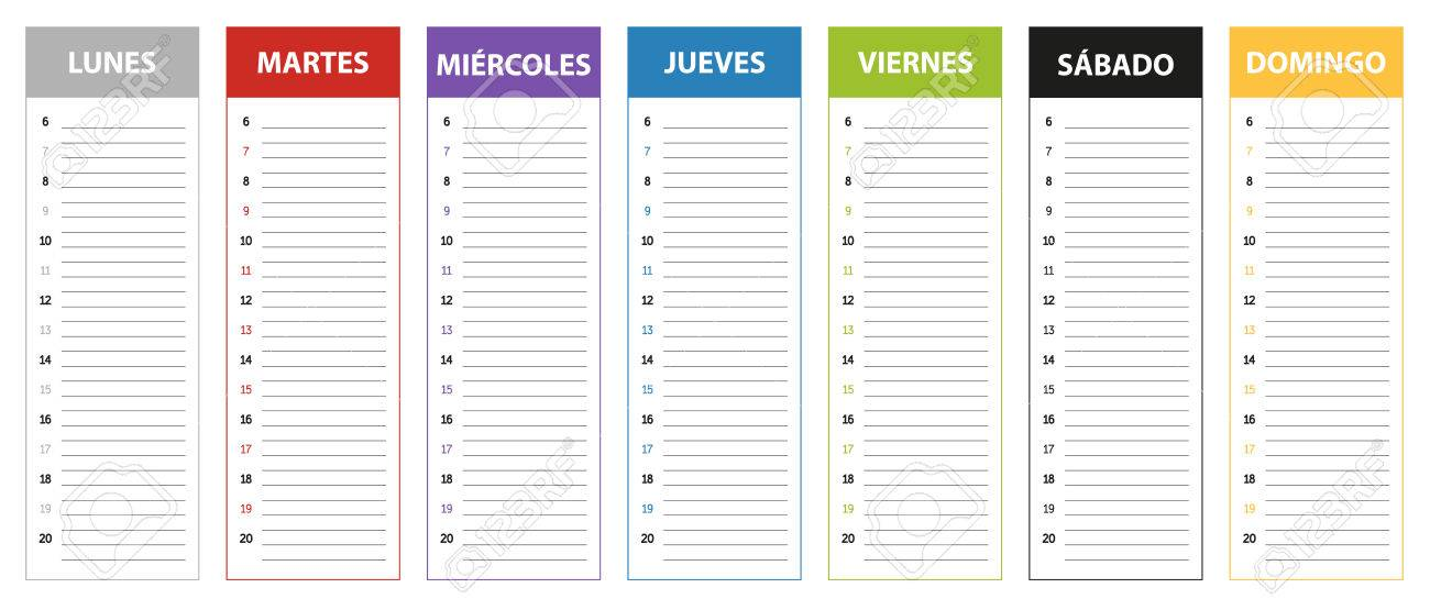 Week Planning Calendar In Colors Of The Day In Spanish Monday - monday sunday calendar