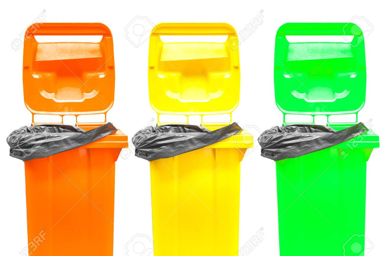 Colorful Garbage Cans Collection Of Large Colorful Trash Cans Garbage Bins Isolated