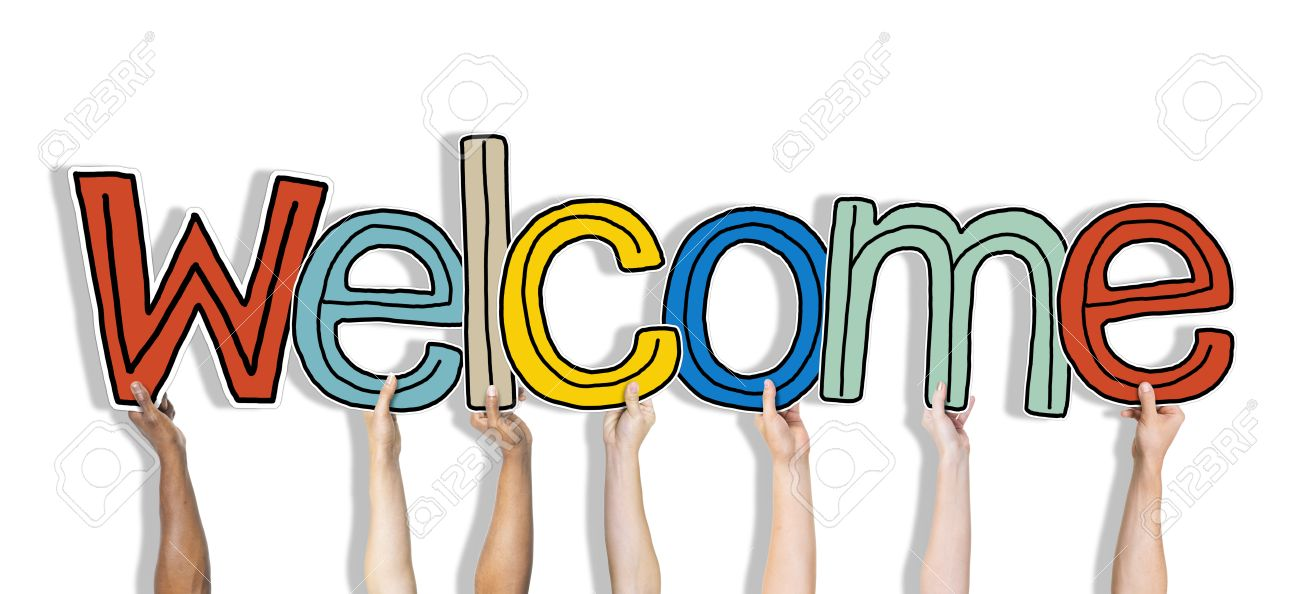 Group Of Hands Holding Word Welcome Stock Photo, Picture And Royalty