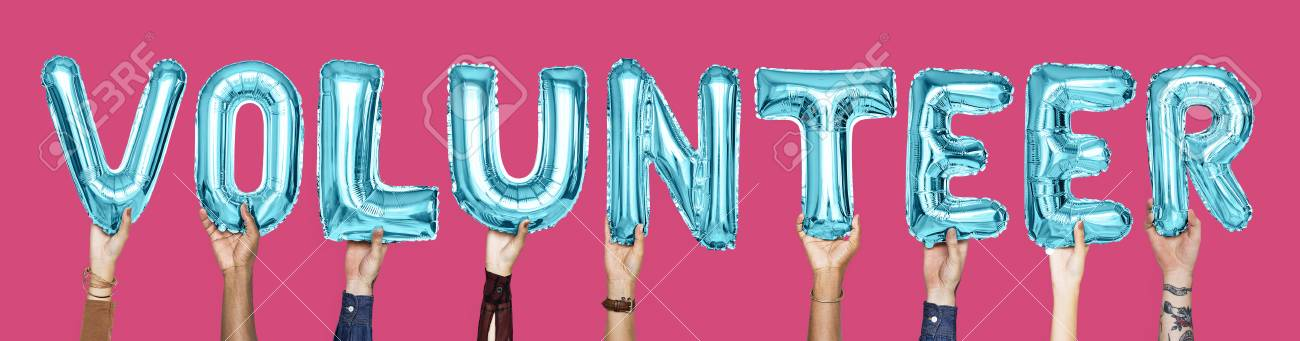Blue Alphabet Balloons Forming The Word Volunteer Stock Photo