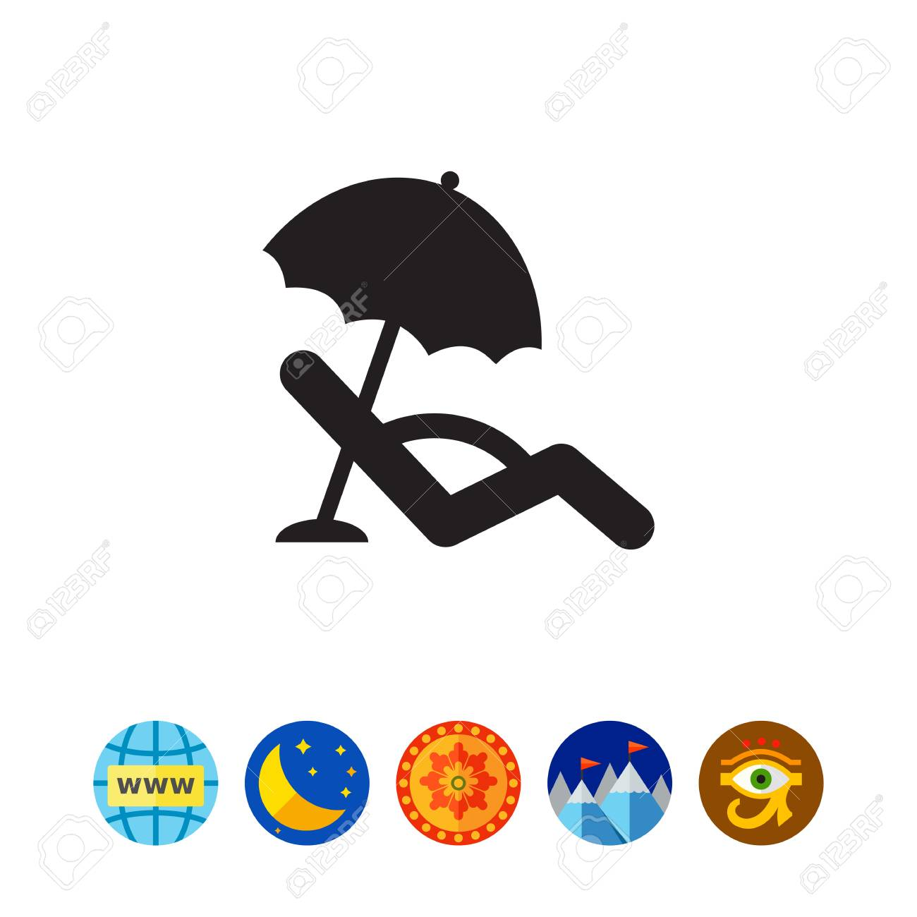 Sonnenliege Clipart Icon Of Sunbed With Beach Umbrella