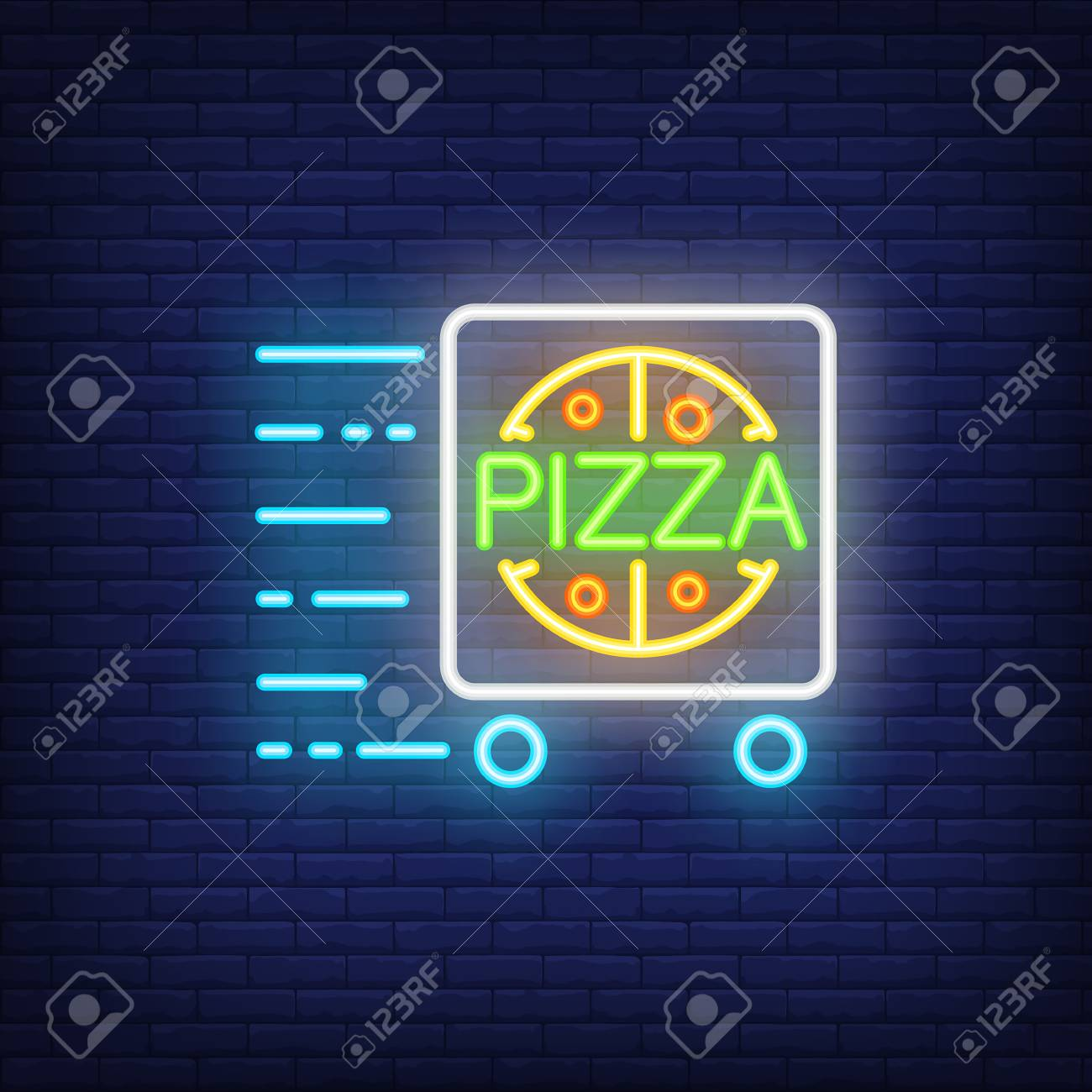 Diner Delivery Pizza Delivery Neon Sign With Cart In Motion Night Bright Advertisement