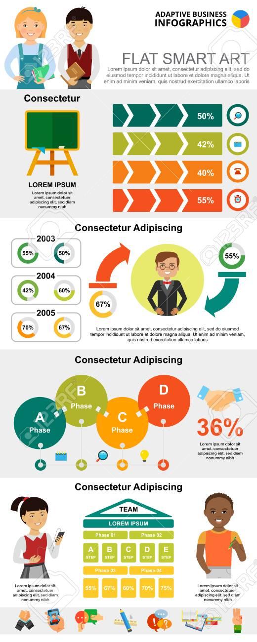 Education And Marketing Charts Set For Presentation Slide Templates
