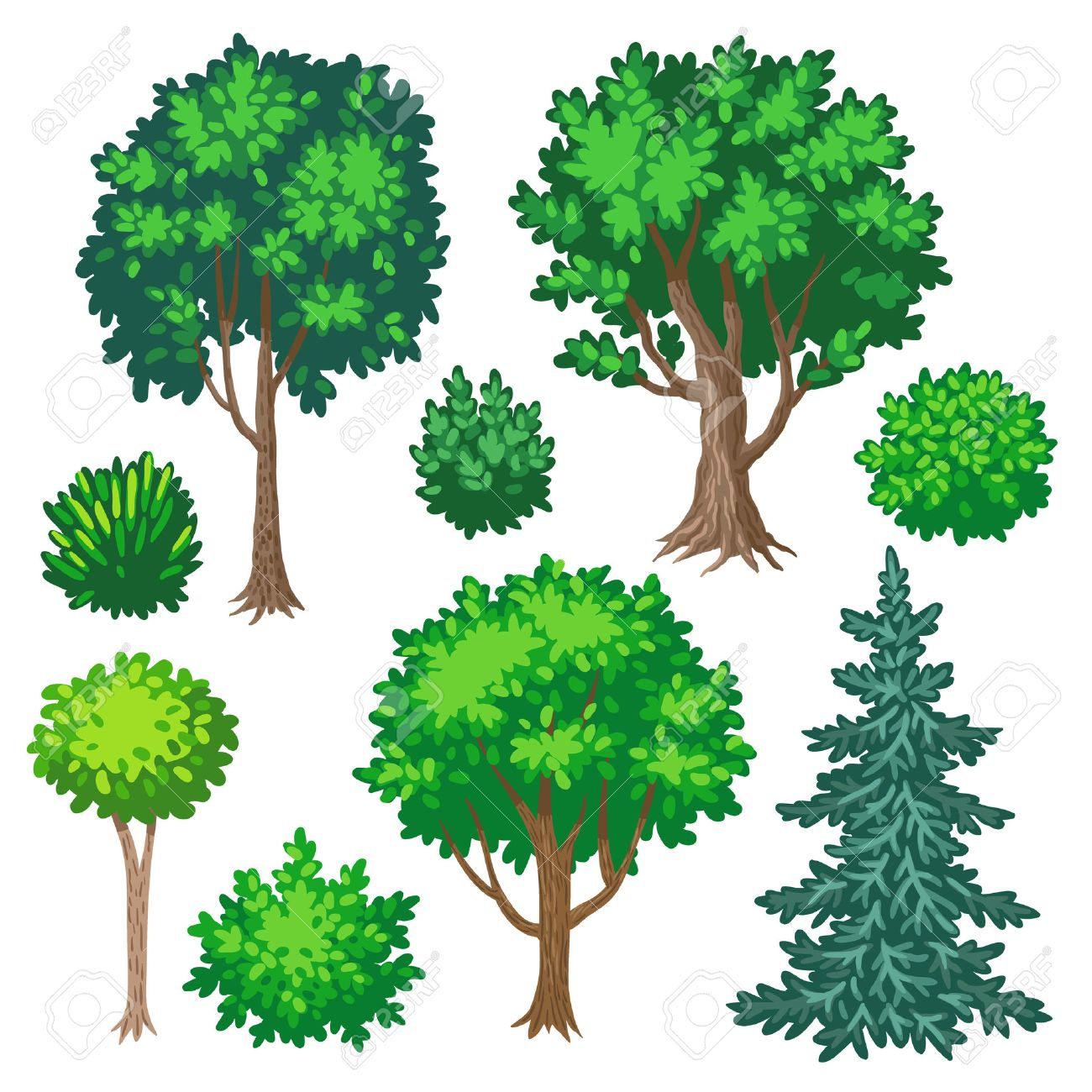 Trees And Shrubs Set Of Cartoon Trees And Shrubs Isolated On White Background