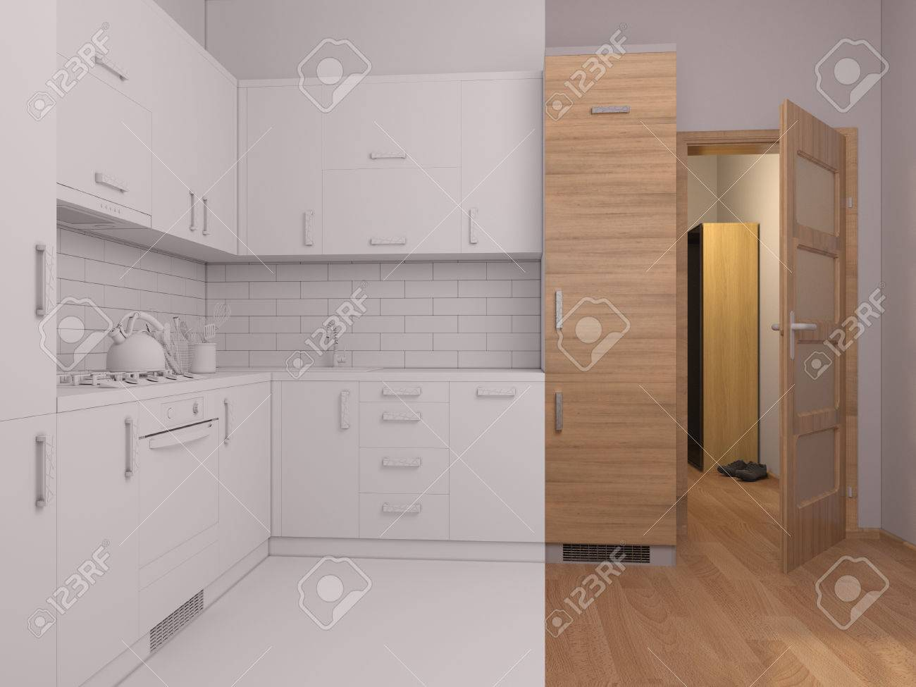 Kitchen Open Door Design 3d Render Collage Of Interior Design Kitchen In A Studio Apartment