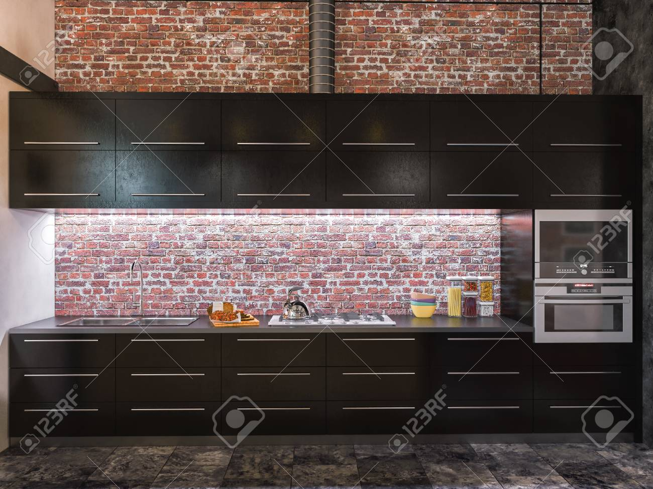 Commercial Kitchen 3d Design 3d Illustration Of Interior Design Kitchen In Loft Style The