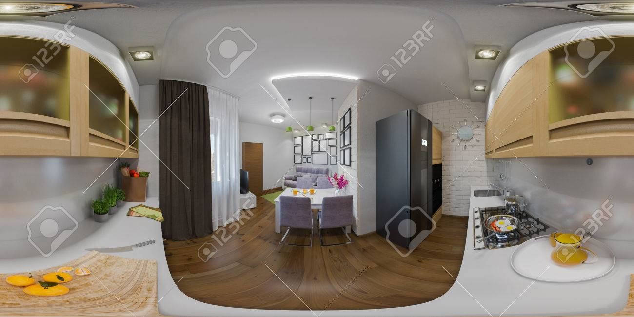 Panorama Bilder Wohnzimmer Stock Photo