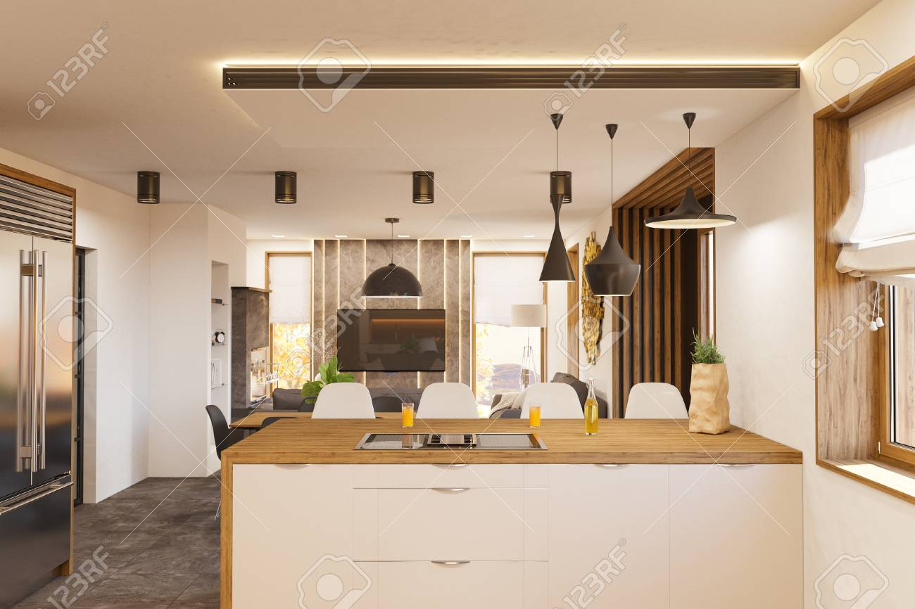 Modern Living Room With Kitchen Interior Design Stock Illustration