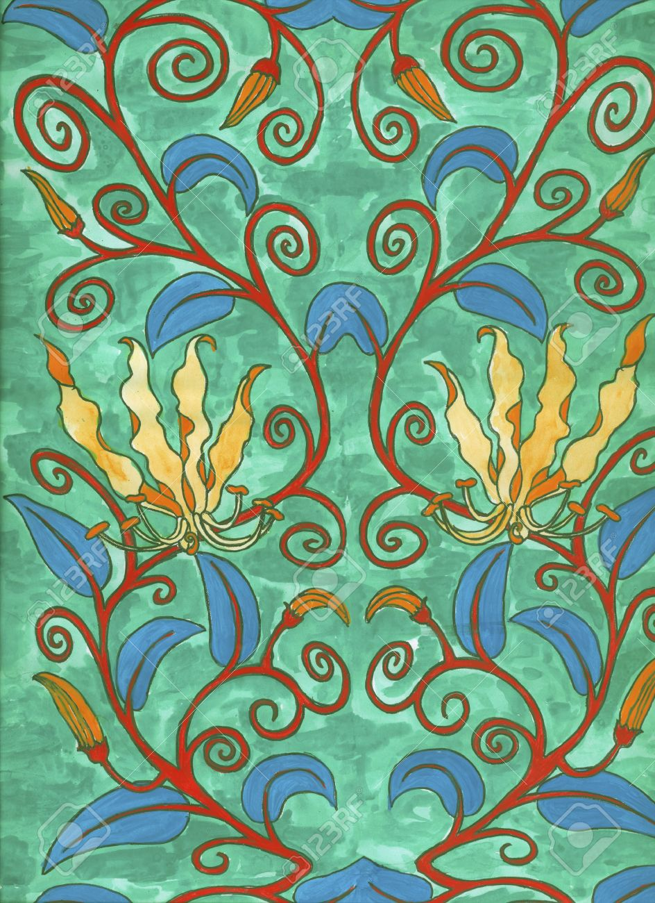 Art Nouveau Pintura Art Nouveau Painting Handpainted By Me High Res Scan